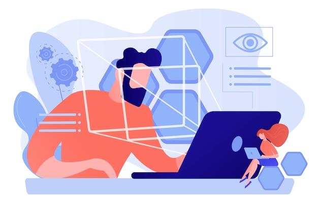Geschäftsmann und technologie, die augenposition und -bewegung messen, winzige leute. eye-tracking-technologie, blickverfolgung, konzept des augenpositionssensors