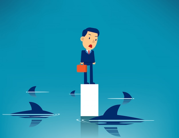 Geschäftsmann und umgebener haifisch