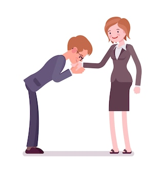 Geschäftsmann und weibliche handkussgeste