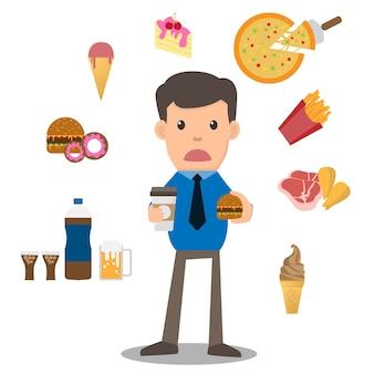 Geschäftsmann unglücklicher hungriger bärtiger mann, der ungesunde fertigkost isst
