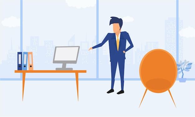Geschäftsmann unternehmer in einem anzug, der an einem laptop an seinem sauberen und glatten schreibtisch arbeitet. moderne illustration der flachen artfarbe.