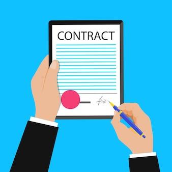 Geschäftsmann unterzeichnen vertragsunterzeichnung vertragsvektorkonzept datenschutzrichtlinie und geschäftsbedingungen