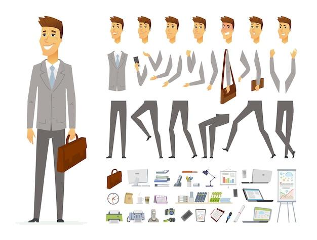 Geschäftsmann - vektor-cartoon-leute-charakter-konstruktor isoliert auf weißem hintergrund. satz verschiedener gesichtsausdrücke, posen, gesten für die animation. viele bürogeräte, gegenstände