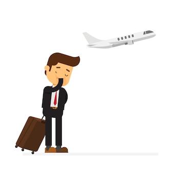 Geschäftsmann verpasste ein flugzeug und sehr verärgert