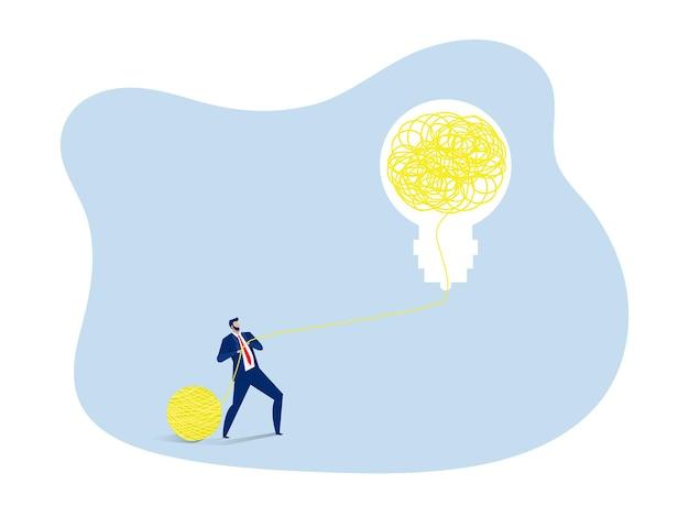 Geschäftsmann verwalten problemlösung kreativ von glühbirne