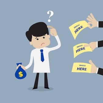 Geschäftsmann verwirrt, wo man investiert