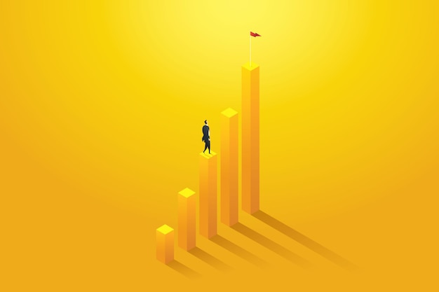 Geschäftsmann vision möglichkeiten und leistung auf diagramm