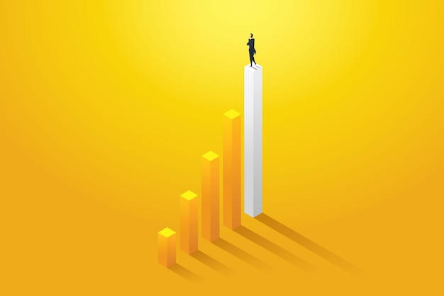 Geschäftsmann vision möglichkeiten und leistung auf diagramm Premium Vektoren