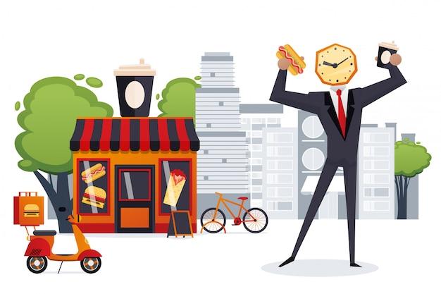 Geschäftsmann wachkopf haben schnellen snack in der restaurantillustration. fast-food-stadtcafé für vielbeschäftigte menschen charakter, hot dog