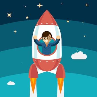 Geschäftsmann wachsender erfolg. raketen fliegen hoch, gewinner person, vektor-illustration