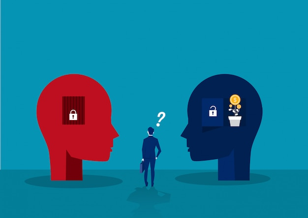 Geschäftsmann wählen zwischen big head human think growth mindset verschiedene feste mindset-konzept