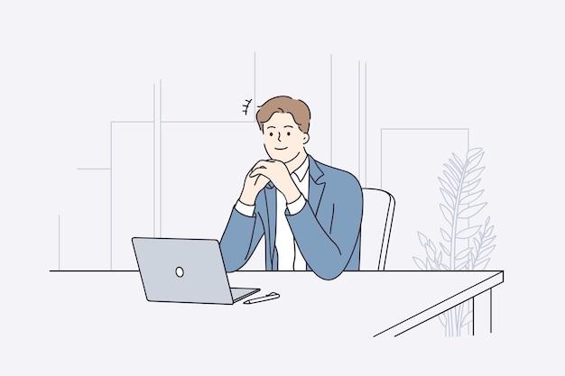 Geschäftsmann während des arbeitsplanungskonzepts