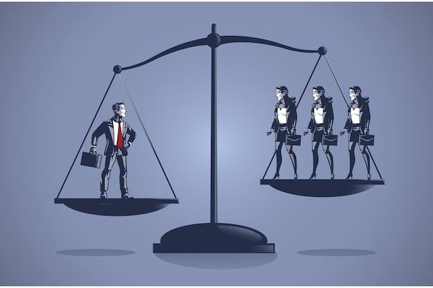 Geschäftsmann wiegt mehr als drei geschäftsfrauen blue collar illustration concept