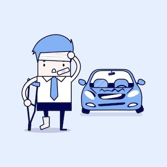 Geschäftsmann wird bei einem autounfall verletzt. cartoon charakter dünne linie stil vektor.