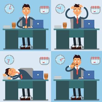 Geschäftsmann working day. geschäftsmann bei der arbeit. büroalltag. vektor-illustration