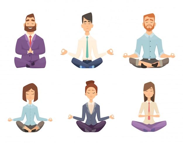 Geschäftsmann yoga. entspannende meditation des mannes und der frau an der arbeitsplatztisch-karikaturillustration