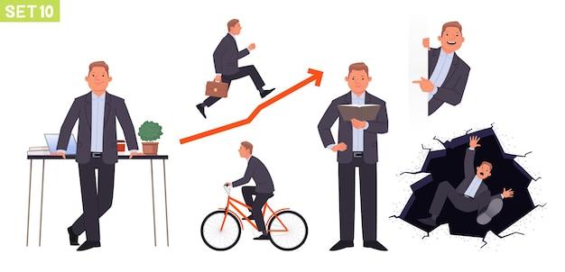 Geschäftsmann zeichensatz man manager in verschiedenen posen und situationen fährt ein fahrrad fährt planmäßig