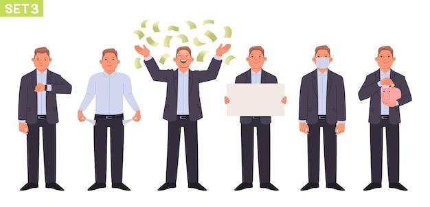 Geschäftsmann zeichensatz mann manager in verschiedenen posen und situationen person schaut auf seine uhr