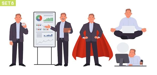 Geschäftsmann zeichensatz mann manager in verschiedenen posen und situationen person zeigt eine visitenkarte