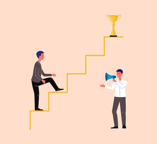 Geschäftsmann-zeichentrickfigur, die auf pfeil klettert, motiviert durch trainer oder mentor