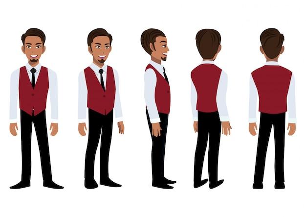 Geschäftsmann-zeichentrickfigur mit einem intelligenten hemd und einer weste für animation. vorderseite, seite, rückseite, 3-4 ansichtscharakter. flacher symbolentwurfsvektor