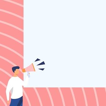 Geschäftsmann zeichnung im gespräch durch megaphon machen wunderbare neue ankündigung. mann, der am megaphon spricht, der brillante späte werbung produziert.