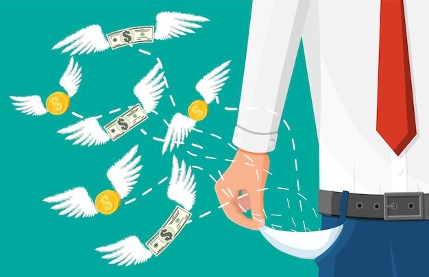 Geschäftsmann zeigen leere tasche. umgekippter geschäftsmann ohne geld. armer mann. wirtschaftsproblem oder finanzkrise, rezession, inflation, insolvenz, einkommensverlust, kapitalverlust. flache vektorillustration