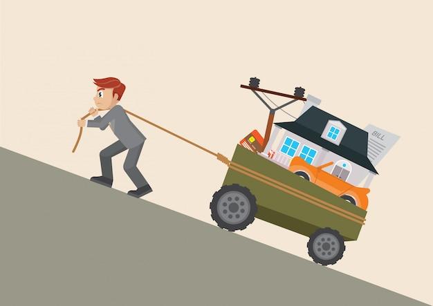 Geschäftsmann zieht einen einkaufswagen mit schulden.