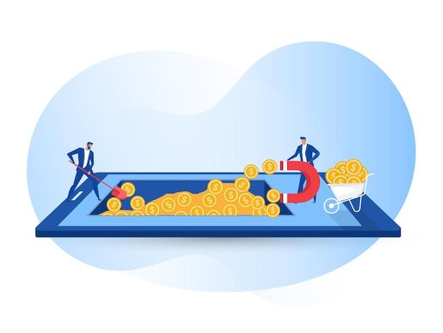 Geschäftsmann zieht geld mit einem großen magneten auf der mobilen illustration an