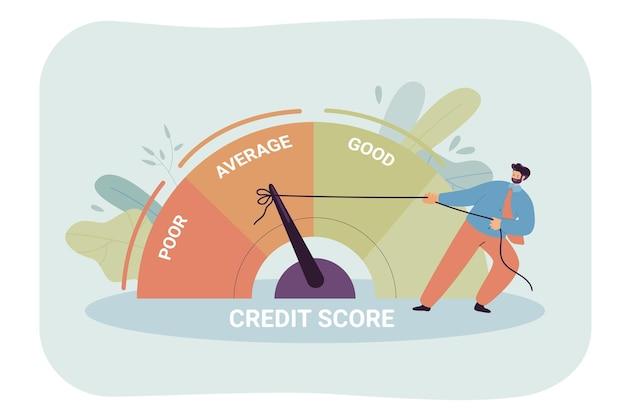 Geschäftsmann zieht tachometer von schlechter zu guter leistung