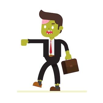 Geschäftsmann zombie mit arbeit legende