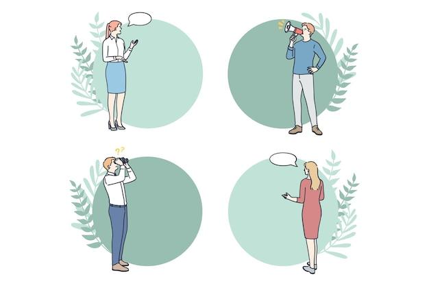 Geschäftsmannarbeiter, die in der nähe von rahmen stehen, umkreisen den infografik-workflow