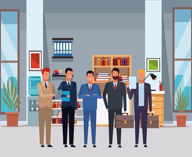 Geschäftsmannavatarazeichentrickfilm-figur im büro