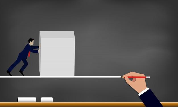 Geschäftsmannbemühung, steinwandstoß für erfolg auf der strichzeichnung auf tafelhintergrund zu bewegen