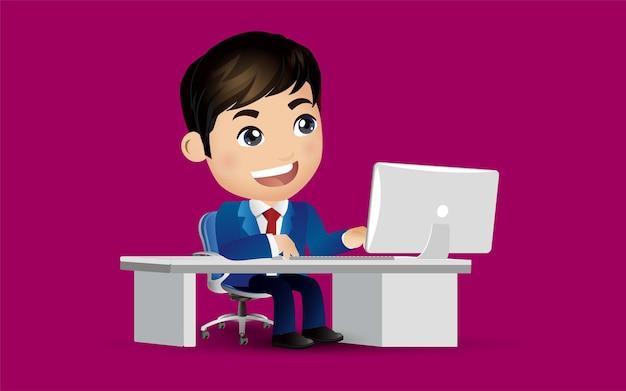 Geschäftsmanncharakter, der an einem laptop-computer am schreibtisch arbeitet