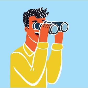 Geschäftsmanncharakter, der durch spionageglas schaut