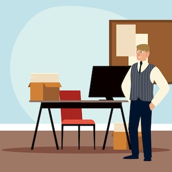 Geschäftsmanncharakter, der mit computer- und papierkramillustration arbeitet