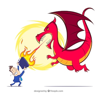 Geschäftsmanncharakter, der mit einem drachen kämpft