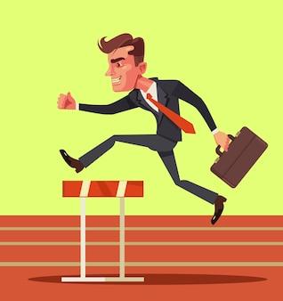 Geschäftsmanncharakter, der über hürdenhindernisse springt