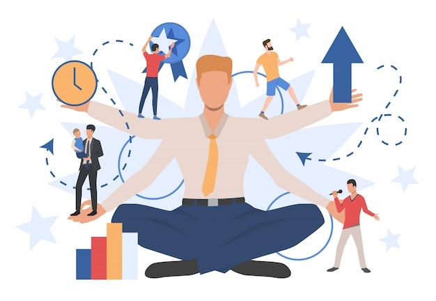 Geschäftsmanncharakter, der verschiedene soziale rollen zeigt