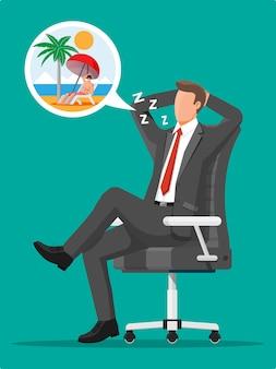 Geschäftsmanncharakter, der von urlaub träumt. müder geschäftsmann oder büroangestellter, der am arbeitsplatz schläft. stress bei der arbeit. bürokratie, papierkram, frist. vektorillustration im flachen stil