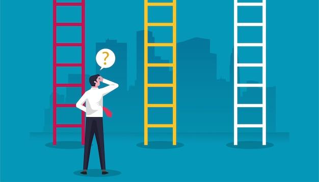 Geschäftsmanncharakter, der vor leitern steht und verwirrt entscheidung in der geschäftsillustration trifft.
