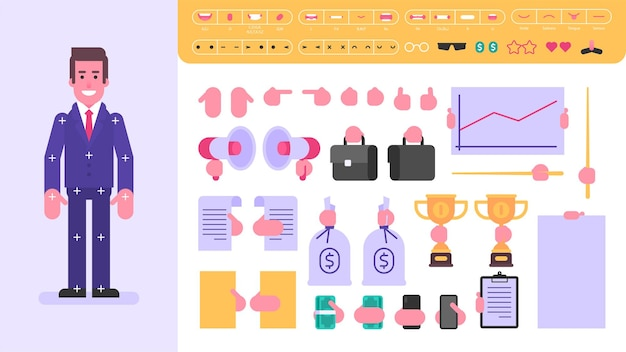 Geschäftsmanncharakter für animation. satz von objekten. vektorillustration