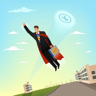 Geschäftsmanncharakter im geschäftsanzug und mit aktentasche, die als superheld durch den himmel fliegt. geschäftsillustration