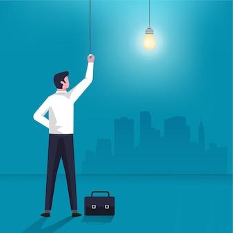 Geschäftsmanncharakter schalten das glühbirnen-symbol ein. geschäftsidee und innovationsillustration.
