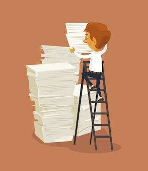 Geschäftsmanncharakter und großer stapel papiere.