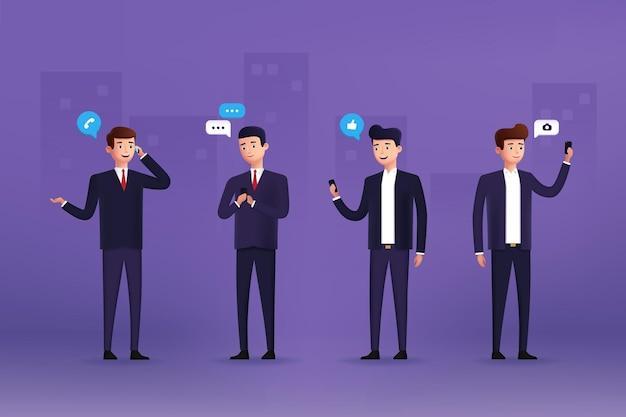 Geschäftsmanncharaktere verwenden verschiedene geräte. 3d stilisiert. vektor-illustration