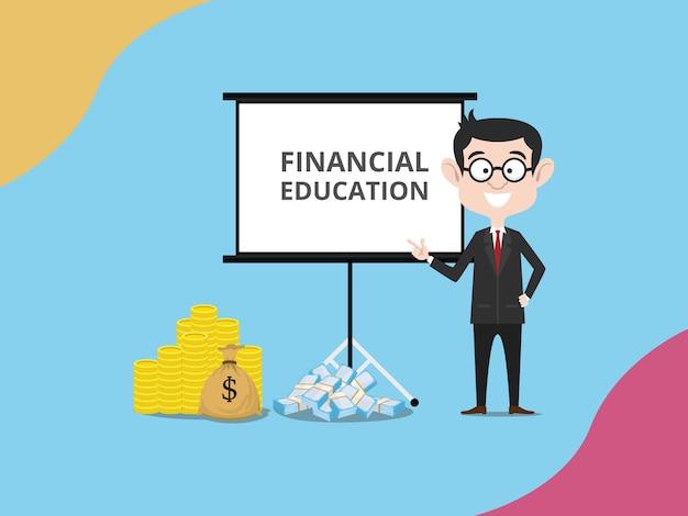 Geschäftsmannexpertenfinanzierung geben finanziell
