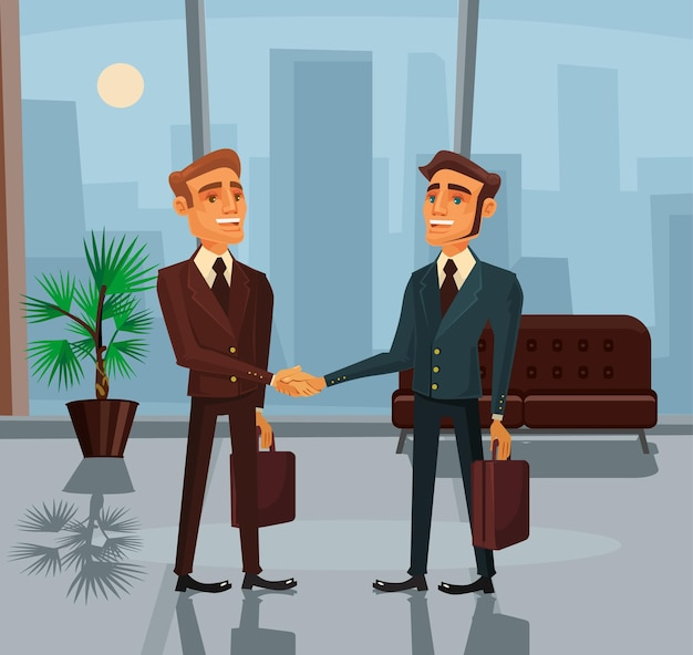 Geschäftsmannfiguren, die handkarikaturillustration schütteln