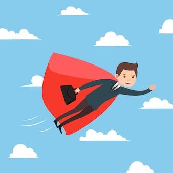 Geschäftsmannfliegen auf dem himmelserfolgskarikatur-konzeptvektor